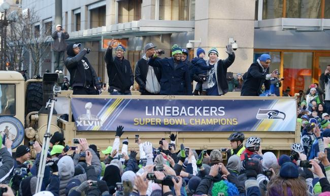 Feb 5, 2014; Seattle, WA, USA; Seattle Seahawks linebackers at Super Bowl XLVIII victory parade on 4th Avenue. Mandatory Credit: Kirby Lee-USA TODAY Sports