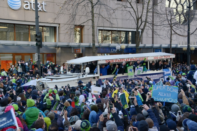 Feb 5, 2014; Seattle, WA, USA; King County executive Dow Constantine (left), Seattle mayor Ed Murray (center), U.S. senator Maria Cantwell (second from right) and Washington governor Jay Inslee at Seattle Seahawks Super Bowl XLVIII victory parade on 4th Avenue. Mandatory Credit: Kirby Lee-USA TODAY Sports