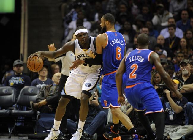 Feb 18, 2014; Memphis, TN, USA; New York Knicks center Tyson Chandler (6) guards Memphis Grizzlies power forward Zach Randolph (50) during the game at FedExForum. Memphis Grizzlies beat New York Knicks 98 - 93. Mandatory Credit: Justin Ford-USA TODAY Sports