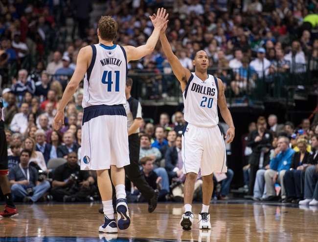 Feb 18, 2014; Dallas, TX, USA; Dallas Mavericks power forward Dirk Nowitzki (41) and point guard Devin Harris (20) celebrate during the second half against the Miami Heat at the American Airlines Center. Nowitzki leads his team with 22 points and Harris scores nine off the bench. The Heat defeated the Mavericks  117-106. Mandatory Credit: Jerome Miron-USA TODAY Sports