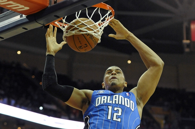 Feb 19, 2014; Cleveland, OH, USA; Orlando Magic small forward Tobias Harris (12) dunks against the Cleveland Cavaliers in the second quarter at Quicken Loans Arena. Mandatory Credit: David Richard-USA TODAY Sports