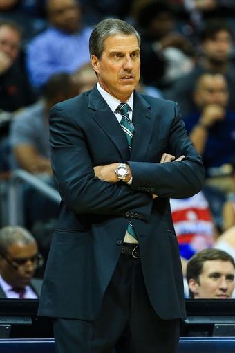 Feb 19, 2014; Atlanta, GA, USA; Washington Wizards head coach Randy Wittman watches play in the first quarter against the Atlanta Hawks at Philips Arena. Mandatory Credit: Daniel Shirey-USA TODAY Sports