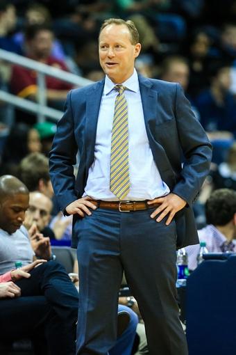 Feb 19, 2014; Atlanta, GA, USA; Atlanta Hawks head coach Mike Budenholzer in the first half against the Atlanta Hawks at Philips Arena. Mandatory Credit: Daniel Shirey-USA TODAY Sports