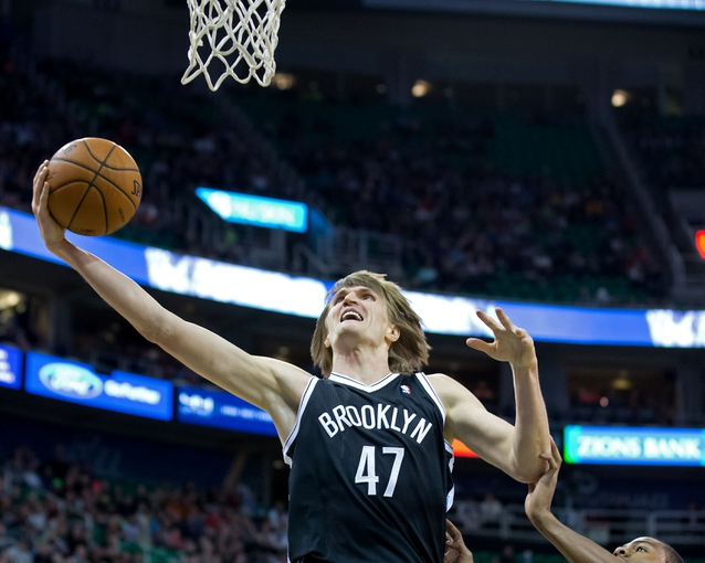 Feb 19, 2014; Salt Lake City, UT, USA; Brooklyn Nets small forward Andrei Kirilenko (47) goes to the basket during the first half against the Utah Jazz at EnergySolutions Arena. Mandatory Credit: Russ Isabella-USA TODAY Sports