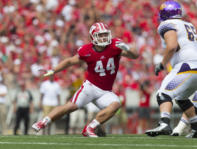 Sep 7, 2013; Madison, WI, USA; Wisconsin Badgers linebacker Chris Borland (44) during the game against the Tennessee Tech Golden Eagles at Camp Randall Stadium.  Wisconsin won 48-0.  Mandatory Credit: Jeff Hanisch-USA TODAY Sports