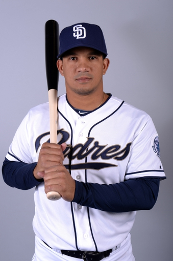 Feb 21, 2014; Peoria, AZ, USA; San Diego Padres shortstop Alberto Gonzalez (3) poses for a photo during photo day at Peoria Sports Complex. Mandatory Credit: Joe Camporeale-USA TODAY Sports
