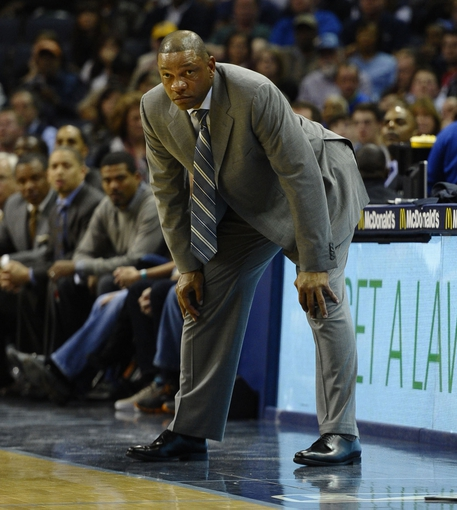 Feb 21, 2014; Memphis, TN, USA; Los Angeles Clippers head coach Doc Rivers stands on the sidelines against the Memphis Grizzlies at FedExForum. The Grizzlies won 102 - 96. Mandatory Credit: Justin Ford-USA TODAY Sports