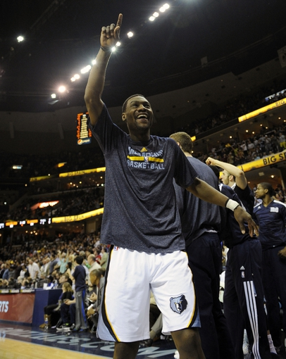 Feb 21, 2014; Memphis, TN, USA; Memphis Grizzlies shooting guard Tony Allen (9) celebrates the Los Angeles Clippers at FedExForum. The Grizzlies won 102 - 96. Mandatory Credit: Justin Ford-USA TODAY Sports