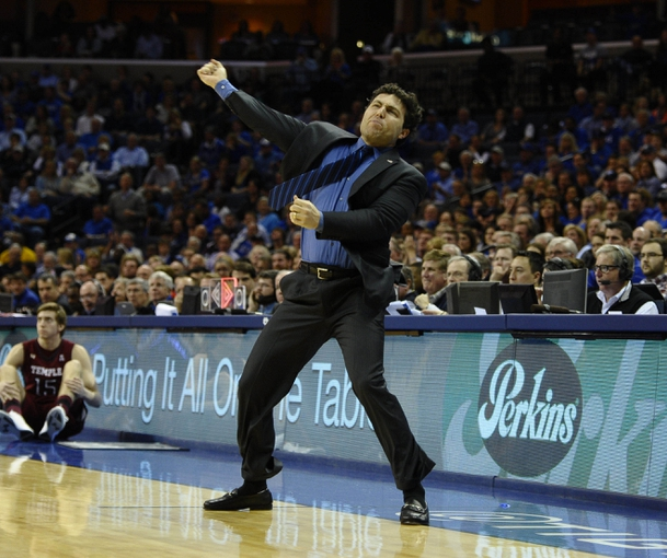 Feb 21, 2014; Memphis, TN, USA; Memphis Tigers head coach Josh Pastner reacts after play against the Temple Owls at FedExForum. Mandatory Credit: Justin Ford-USA TODAY Sports