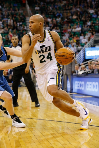 Feb 22, 2014; Salt Lake City, UT, USA; Utah Jazz small forward Richard Jefferson (24) goes to the basket during the third quarter against the Minnesota Timberwolves at EnergySolutions Arena. Minnesota Timberwolves beat the Utah Jazz 121-104.  Mandatory Credit: Chris Nicoll-USA TODAY Sports
