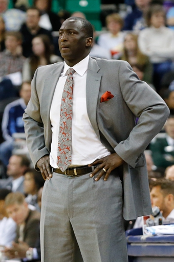 Feb 22, 2014; Salt Lake City, UT, USA; Utah Jazz head coach Tyrone Corbin watches his team during the third quarter against the Minnesota Timberwolves at EnergySolutions Arena. Minnesota Timberwolves beat the Utah Jazz 121-104.  Mandatory Credit: Chris Nicoll-USA TODAY Sports