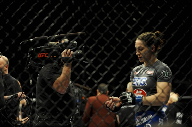 Feb 22, 2014; Las Vegas, NV, USA; Sara McMann talks about her fight with Ronda Rousey (not pictured) during their UFC bantamweight championship bout at Mandalay Bay. Mandatory Credit: Stephen R. Sylvanie-USA TODAY Sports