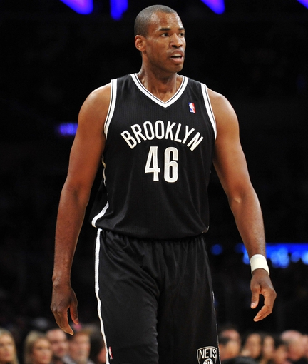 February 23, 2014; Los Angeles, CA, USA; Brooklyn Nets center Jason Collins (46) during game action against the Los Angeles Lakers during the first half at Staples Center. Mandatory Credit: Gary A. Vasquez-USA TODAY Sports