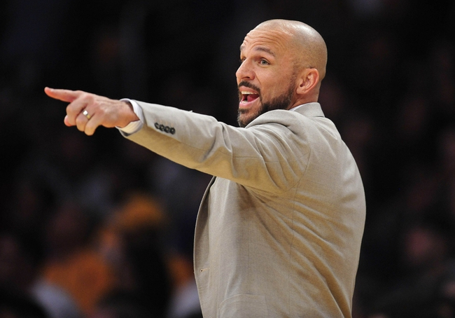 February 23, 2014; Los Angeles, CA, USA; Brooklyn Nets head coach Jason Kidd watches game action against the Los Angeles Lakers during the second half at Staples Center. Mandatory Credit: Gary A. Vasquez-USA TODAY Sports
