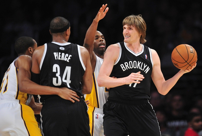 February 23, 2014; Los Angeles, CA, USA; Brooklyn Nets small forward Andrei Kirilenko (47) controls the ball against the Los Angeles Lakers during the second half at Staples Center. Mandatory Credit: Gary A. Vasquez-USA TODAY Sports