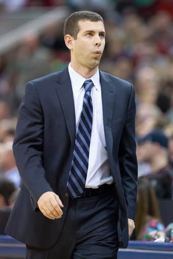 Feb 24, 2014; Salt Lake City, UT, USA; Boston Celtics head coach Brad Stevens reacts during the first half against the Utah Jazz at EnergySolutions Arena. Mandatory Credit: Russ Isabella-USA TODAY Sports