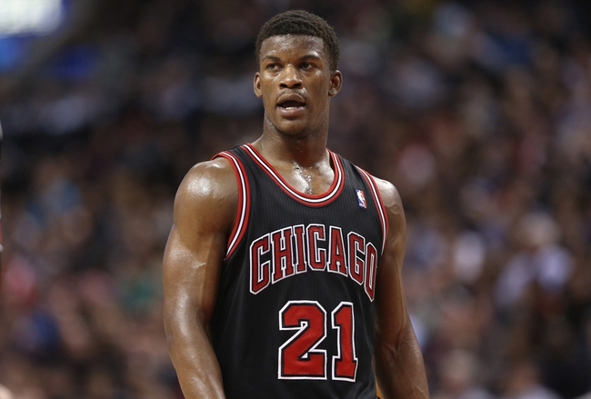 Feb 19, 2014; Toronto, Ontario, CAN; Chicago Bulls forward Jimmy Butler (21) during the game against the Toronto Raptors at Air Canada Centre. The Bulls beat the Raptors 94-92. Mandatory Credit: Tom Szczerbowski-USA TODAY Sports