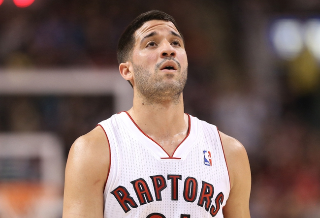 Feb 19, 2014; Toronto, Ontario, CAN; Toronto Raptors guard Greivis Vasquez (21) against the Chicago Bulls at Air Canada Centre. The Bulls beat the Raptors 94-92. Mandatory Credit: Tom Szczerbowski-USA TODAY Sports