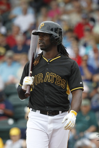 Feb 26, 2014; Bradenton, FL, USA; Pittsburgh Pirates center fielder Andrew McCutchen (22) walks up to bat during the second inning against the New York Yankees at McKechnie Field. Mandatory Credit: Kim Klement-USA TODAY Sports