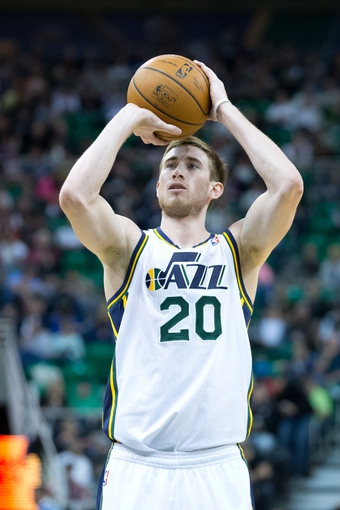 Feb 26, 2014; Salt Lake City, UT, USA; Utah Jazz shooting guard Gordon Hayward (20) shoots a free throw during the second half against the Phoenix Suns at EnergySolutions Arena. The Jazz won 109-86. Mandatory Credit: Russ Isabella-USA TODAY Sports
