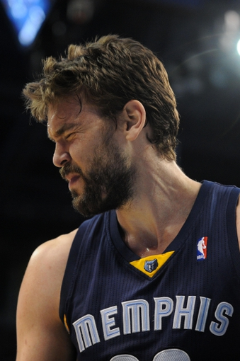 Feb 28, 2014; Oklahoma City, OK, USA; Memphis Grizzlies center Marc Gasol (33) reacts to a play in action against the Oklahoma City Thunder at Chesapeake Energy Arena. Mandatory Credit: Mark D. Smith-USA TODAY Sports