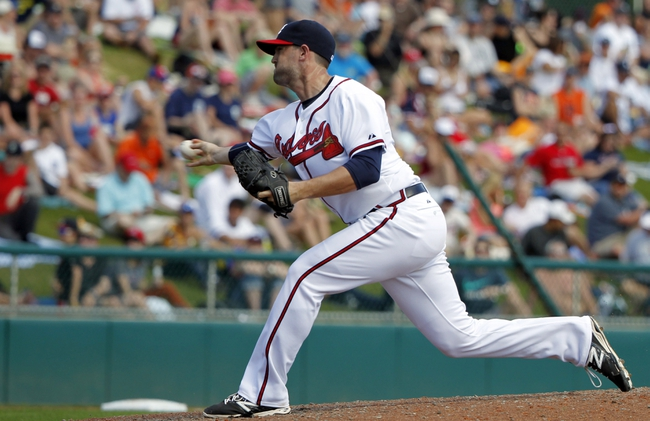 Mar 2, 2014; Lake Buena Vista, FL, USA; Atlanta Braves relief pitcher Cory Gearrin (53) throws the ball during the fourth inning against the Detroit Tigers at Champion Stadium. Mandatory Credit: Kim Klement-USA TODAY Sports