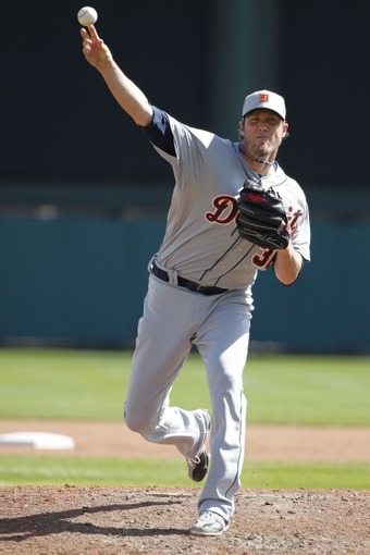 Mar 2, 2014; Lake Buena Vista, FL, USA; Detroit Tigers relief pitcher Joe Nathan (36) throws a pitch during the fifth inning against the Atlanta Braves at Champion Stadium. Mandatory Credit: Kim Klement-USA TODAY Sports