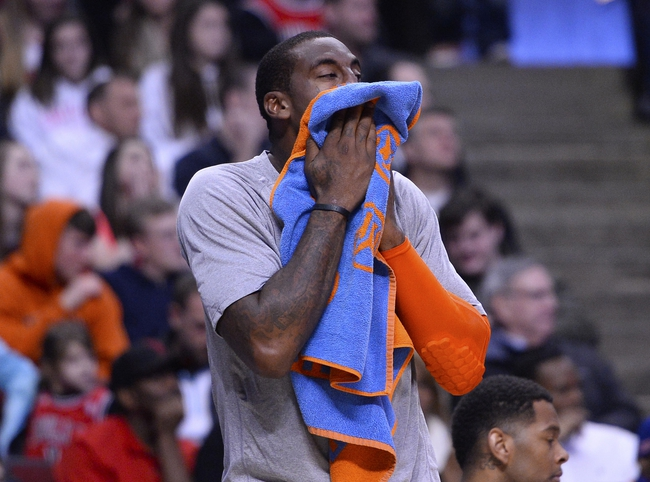 Mar 2, 2014; Chicago, IL, USA; New York Knicks power forward Amar'e Stoudemire (1) reacts after fouling out of the game against the Chicago Bulls during the second half at the United Center. Chicago defeats New York 109-90. Mandatory Credit: Mike DiNovo-USA TODAY Sports