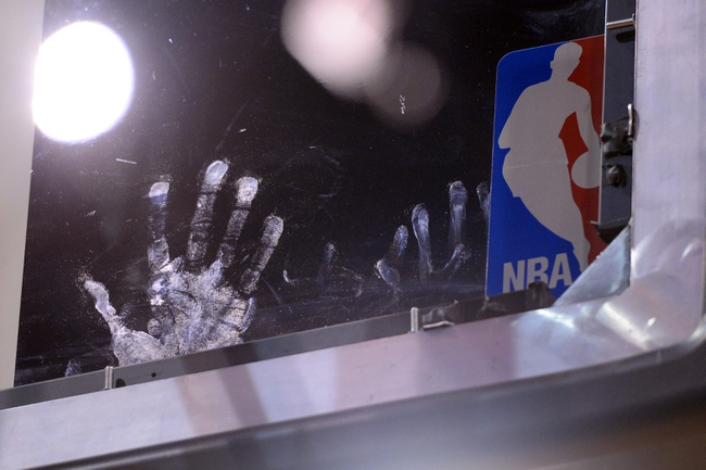 Mar 2, 2014; Phoenix, AZ, USA; A view of hand prints on the backboard during the game between the Phoenix Suns and the Atlanta Hawks in the second half at US Airways Center. The Phoenix Suns won the game 129-120. Mandatory Credit: Joe Camporeale-USA TODAY Sports