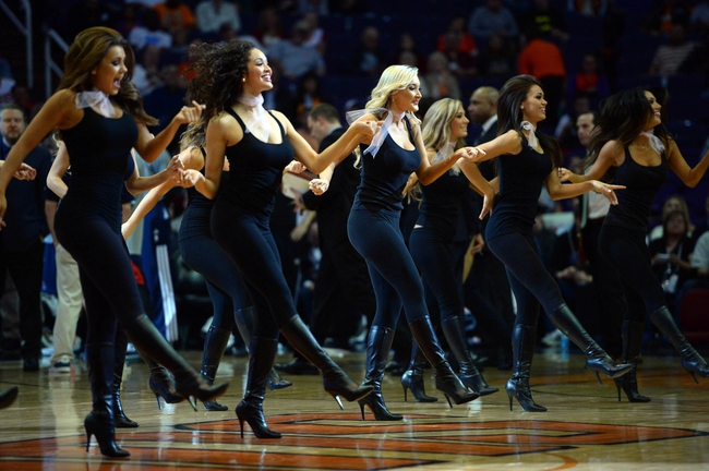 Mar 2, 2014; Phoenix, AZ, USA; The Phoenix Suns Dancers perform against the Atlanta Hawks during the first half at US Airways Center. The Phoenix Suns won the game 129-120. Mandatory Credit: Joe Camporeale-USA TODAY Sports
