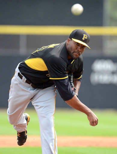 Mar 5, 2014; Dunedin, FL, USA; Pittsburg Pirates pitcher Jay Jackson (68) warms up  during the spring training exhibition game against the Toronto Blue Jays at Florida Auto Exchange Park. Mandatory Credit: Jonathan Dyer-USA TODAY Sports