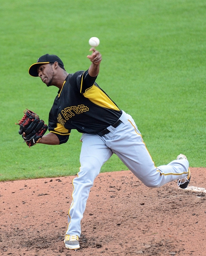 Mar 5, 2014; Dunedin, FL, USA; Pittsburg Pirates pitcher Joely Rodriquez (64) throws a pitch during the spring training exhibition game against the Toronto Blue Jays at Florida Auto Exchange Park. Mandatory Credit: Jonathan Dyer-USA TODAY Sports