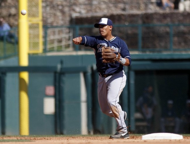 Mar 5, 2014; Phoenix, AZ, USA; San Diego Padres shortstop Everth Cabrera (2) makes the play for the out against the Chicago White Sox during the fourth inning at Camelback Ranch. Mandatory Credit: Rick Scuteri-USA TODAY Sports