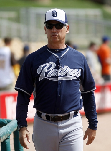 Mar 5, 2014; Phoenix, AZ, USA; San Diego Padres manager Bud Black (20) walks to the dugout before a game against the Chicago White Sox at Camelback Ranch. Mandatory Credit: Rick Scuteri-USA TODAY Sports