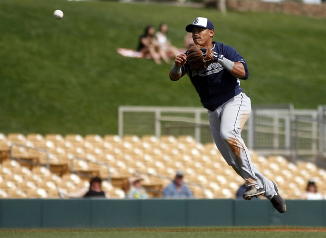 Mar 5, 2014; Phoenix, AZ, USA; San Diego Padres shortstop Everth Cabrera (2) makes the off balance throw for the out against the Chicago White Sox during the third inning at Camelback Ranch. Mandatory Credit: Rick Scuteri-USA TODAY Sports