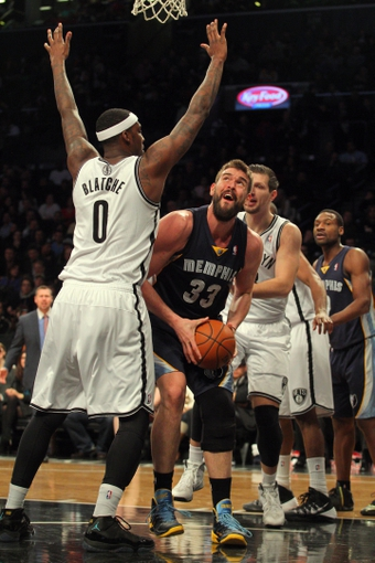 Mar 5, 2014; Brooklyn, NY, USA; Memphis Grizzlies center Marc Gasol (33) controls the ball against Brooklyn Nets center Andray Blatche (0) during the first quarter of a game at Barclays Center. Mandatory Credit: Brad Penner-USA TODAY Sports