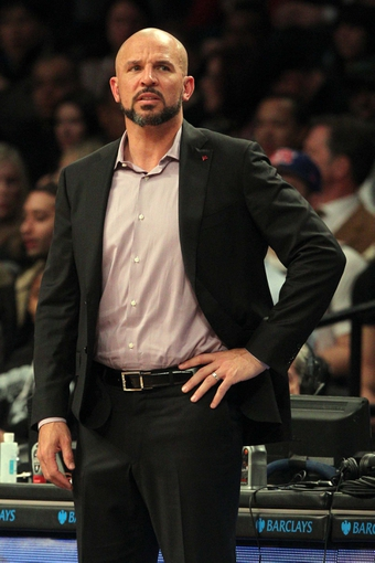 Mar 5, 2014; Brooklyn, NY, USA; Brooklyn Nets head coach Jason Kidd during the first quarter of a game against the Memphis Grizzlies at Barclays Center. Mandatory Credit: Brad Penner-USA TODAY Sports