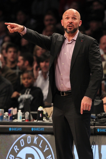 Mar 5, 2014; Brooklyn, NY, USA; Brooklyn Nets head coach Jason Kidd during the second quarter of a game against the Memphis Grizzlies at Barclays Center. Mandatory Credit: Brad Penner-USA TODAY Sports