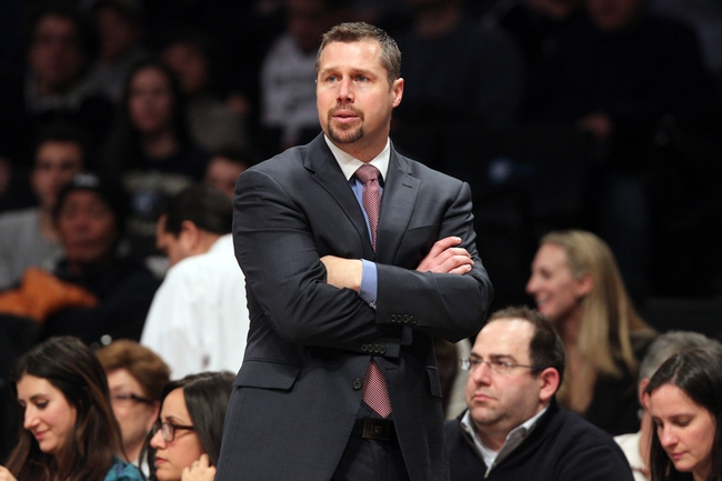 Mar 5, 2014; Brooklyn, NY, USA; Memphis Grizzlies head coach David Joerger during the fourth quarter of a game against the Brooklyn Nets at Barclays Center. The Nets defeated the Grizzlies 103-94. Mandatory Credit: Brad Penner-USA TODAY Sports