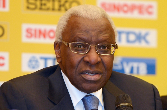 Mar 6, 2014; Sopot, Poland; IAAF president Lamine Diack at press conference at the Sheraton Sopot Hotel, Conference Center & Spa in advance of the IAAF World Indoor Championships in Athletics. Mandatory Credit: Kirby Lee-USA TODAY Sports