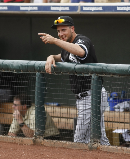 Mar 6, 2014; Surprise, AZ, USA; Chicago White Sox third baseman Alex Liddi (60) looks on before a game against the Kansas City Royals at Surprise Stadium. Mandatory Credit: Rick Scuteri-USA TODAY Sports