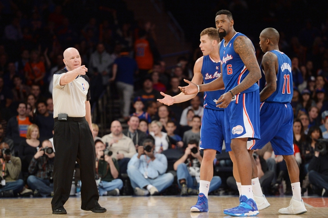 Jan 17, 2014; New York, NY, USA; Los Angeles Clippers players argue a foul call against Los Angeles Clippers power forward Blake Griffin (32) during the second half at Madison Square Garden. The Los Angeles Clippers won 109-94. Mandatory Credit: Joe Camporeale-USA TODAY Sports