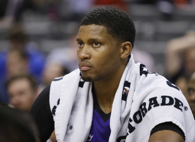 Mar 7, 2014; Toronto, Ontario, CAN; Sacramento Kings forward Rudy Gay (8) on the bench against the Toronto Raptors at the Air Canada Centre. Toronto defeated Sacramento 99-87. Mandatory Credit: John E. Sokolowski-USA TODAY Sports