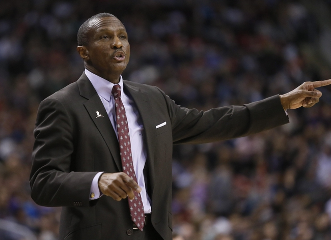 Mar 7, 2014; Toronto, Ontario, CAN; Toronto Raptors head coach Dwane Casey during the second half against the Sacramento Kings at the Air Canada Centre. Toronto defeated Sacramento 99-87. Mandatory Credit: John E. Sokolowski-USA TODAY Sports