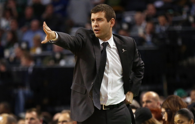 Mar 7, 2014; Boston, MA, USA; Boston Celtics head coach Brad Stevens directs his players during the second quarter of their 91-84 win over the Brooklyn Nets at TD Garden. Mandatory Credit: Winslow Townson-USA TODAY Sports
