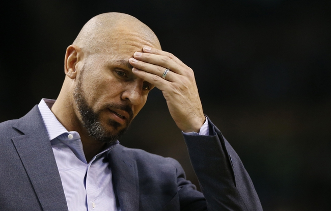 Mar 7, 2014; Boston, MA, USA; Brooklyn Nets head coach Jason Kidd reacts to a call during the second half of their 91-84 loss to the Boston Celtics at TD Garden. Mandatory Credit: Winslow Townson-USA TODAY Sports