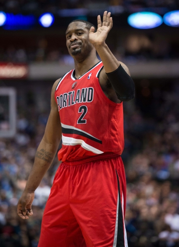 Mar 7, 2014; Dallas, TX, USA; Portland Trail Blazers shooting guard Wesley Matthews (2) reacts to a foul call during the second half against the Dallas Mavericks at the American Airlines Center. Matthews fouls out of the game in the fourth quarter. The Mavericks defeated the Trail Blazers 103-98. Mandatory Credit: Jerome Miron-USA TODAY Sports