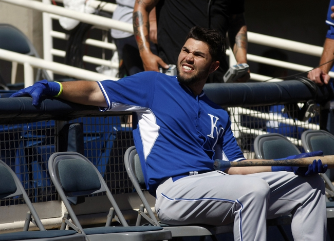 Mar 8, 2014; Phoenix, AZ, USA; Kansas City Royals first baseman Eric Hosmer (35) waits to hit before a game against the Milwaukee Brewers at Maryvale Baseball Park. Mandatory Credit: Rick Scuteri-USA TODAY Sports