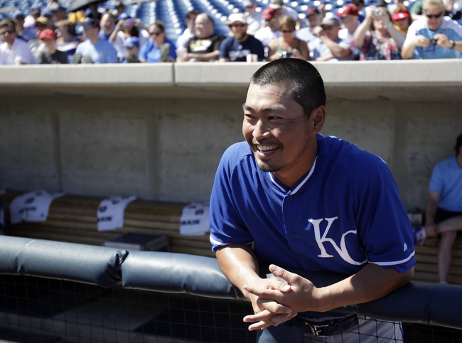 Mar 8, 2014; Phoenix, AZ, USA; Kansas City Royals right fielder Norichika Aoki (23) before a game against the Milwaukee Brewers at Maryvale Baseball Park. Mandatory Credit: Rick Scuteri-USA TODAY Sports