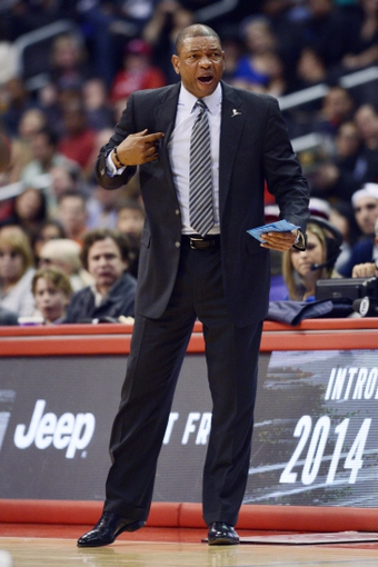 Mar 8, 2014; Los Angeles, CA, USA; Los Angeles Clippers head coach Doc Rivers during the game between the Atlanta Hawks and Los Angeles Clippers during the first quarter at Staples Center. Mandatory Credit: Kelvin Kuo-USA TODAY Sports